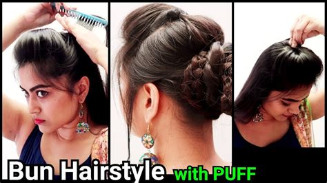 puff hairstyles for party ethnic bun with puff hairstyle indian festive hairstyles