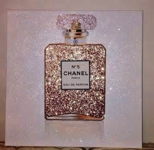 Swarovski Home Decor Home Accessory Chanel Painting Glitter Chanel No 5