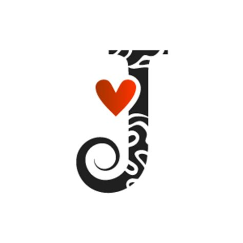 heart clipart white alphabet j with black background