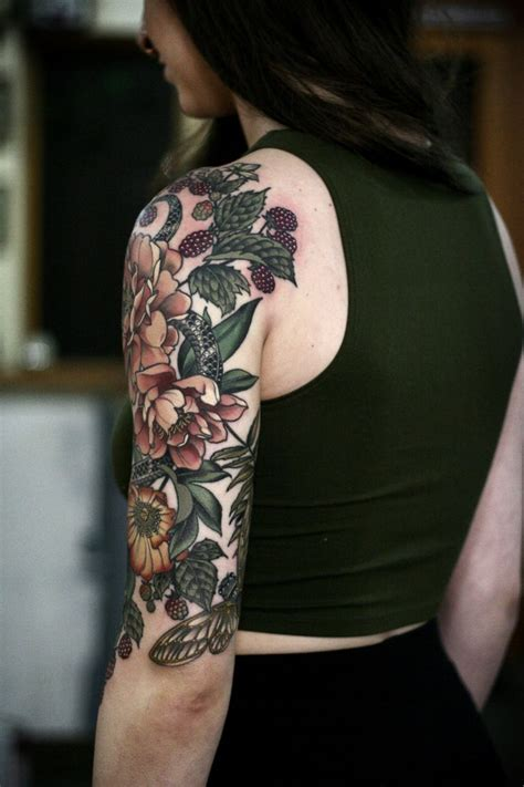 flower sleeve tattoo best 25 nature sleeve ideas on