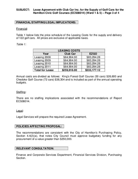 Club Car Lease Agreement Ontario Free Download Golf Club Rental Agreement Template