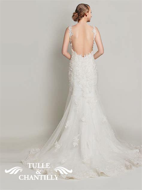 Lowback Ribbon Dress lace wedding dresses tulle chantilly wedding