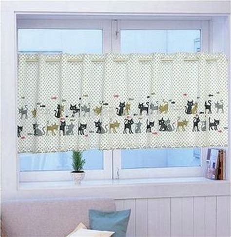 cat curtains kitchen cat knitting yarn print coffee kitchen short curtain