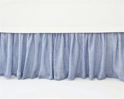blue bed skirt pine cone hill savannah linen gauze french blue bed skirt
