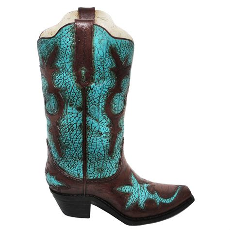 Boot Vase by Turquoise Distressed Cowboy Boot Vase