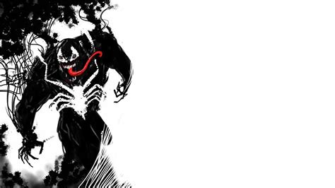 black and white marvel wallpaper venom marvel comics symbiote costume fan art white