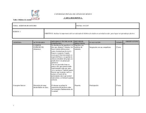 ejemplo de cartas descriptivas de educacion preescolar carta descriptiva