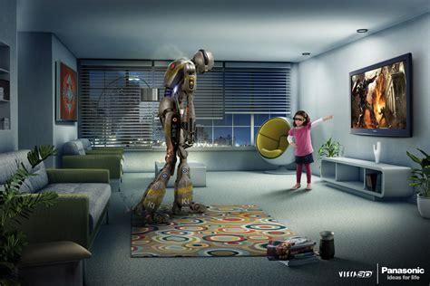 panasonic 3d pubs panasonic 3d tv dinosaure et robot le publigeekaire