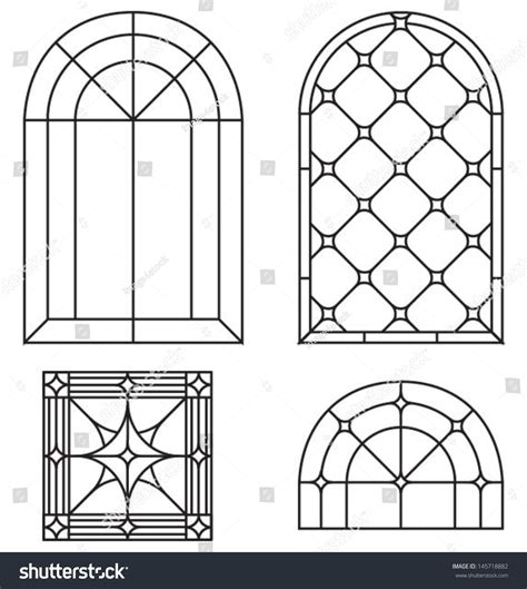 window silhouettes template arch border abstract seamless ornament set stock vector