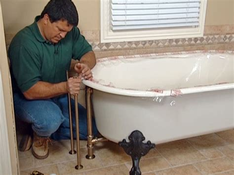 how to put in a bathtub how to install plumbing for a claw foot tub how tos diy