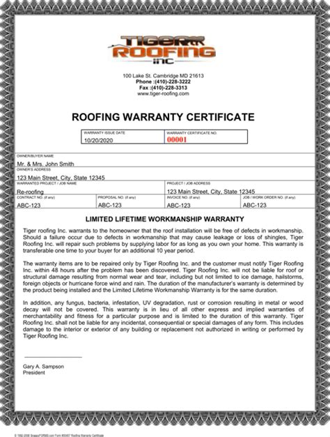 Roofing Template Warranty Certificate Templates For Free