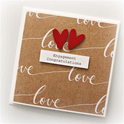Handmade Engagement Cards - engagement card handmade kraft with calico bag