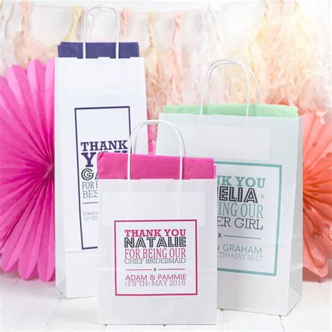 Wedding Gift Bags Uk by Personalised Wedding Gift Bags Paper Favours With