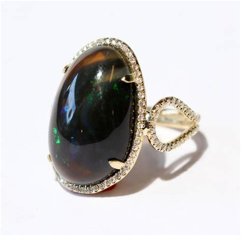 Kalung Black Gold Ring Necklace black opal ring 14k yellow gold size 8 gemstones custom jewelry