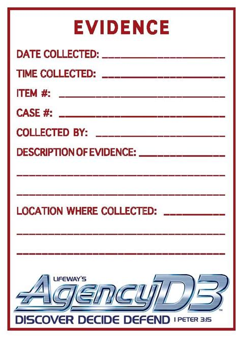 printable evidence labels evidence sticker 8 1 2 x 11 agency d3 vbs 2014