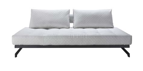 Metal Framed Sofa Bed White Fabric Modern Convertible Sofa Bed W Metal Frame