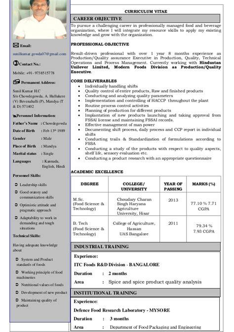 career objective for food technologist cv sunil food technology