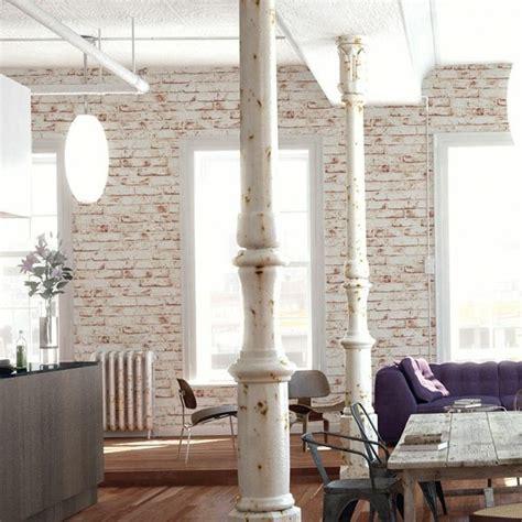 brick wallpaper   chic rustic accent  modern