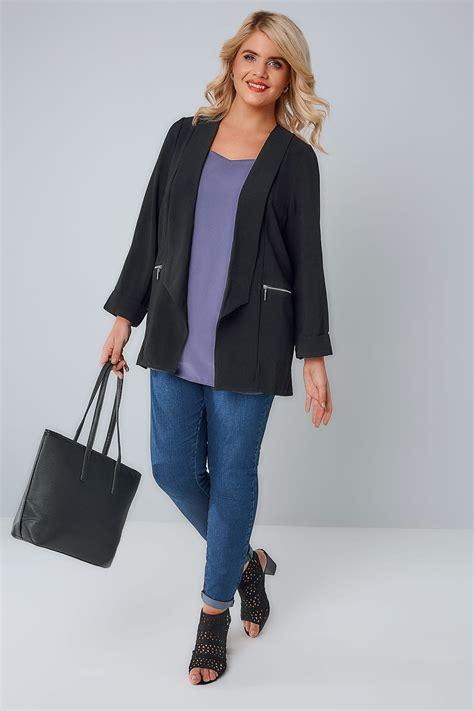 black bubble crepe blazer jacket  zip pockets