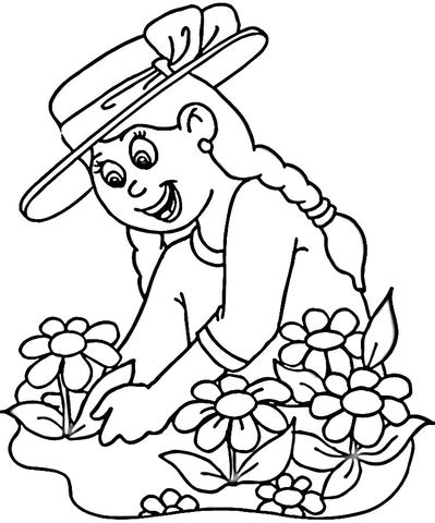 cartoon farmer planting seed coloring page coloring pages