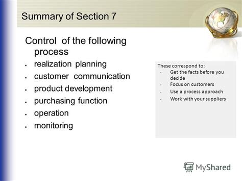 Section 7 Summary by Quot Quality Management System