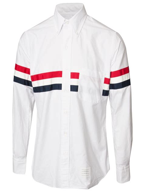 Oxford Strippy Shirt Brown thom browne classic oxford stripe shirt whitered blue in white for lyst