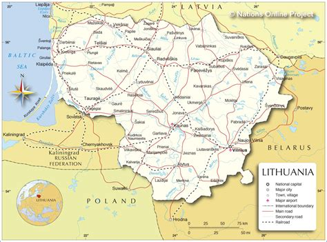 map of lithuania political map of lithuania nations project