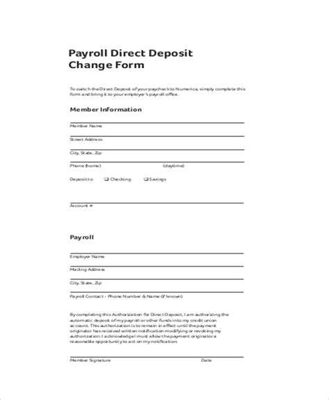payroll direct deposit authorization form template sle payroll change form 10 free documents in pdf