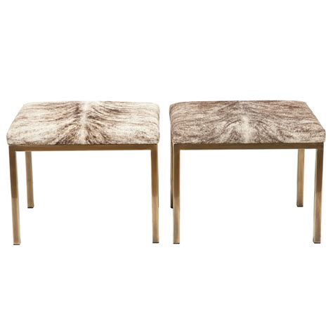mastercraft bench pair of brass and hide benches by mastercraft at 1stdibs