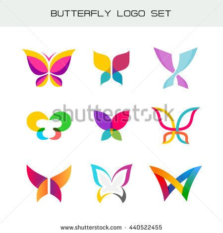 colorful butterfly logo colorful butterfly logo overlay transparent sheets stock