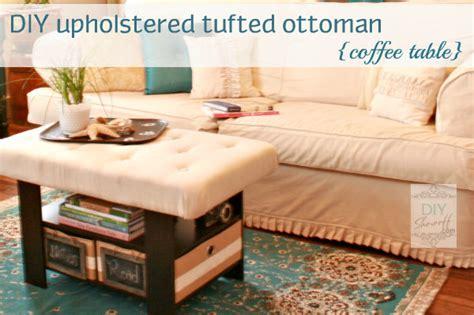 coffee table turned ottoman hometalk upholstering tufting a coffee table turned ottoman