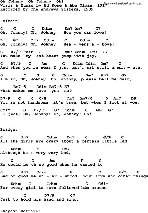 how to o song lyrics with guitar chords for oh johnny oh johnny