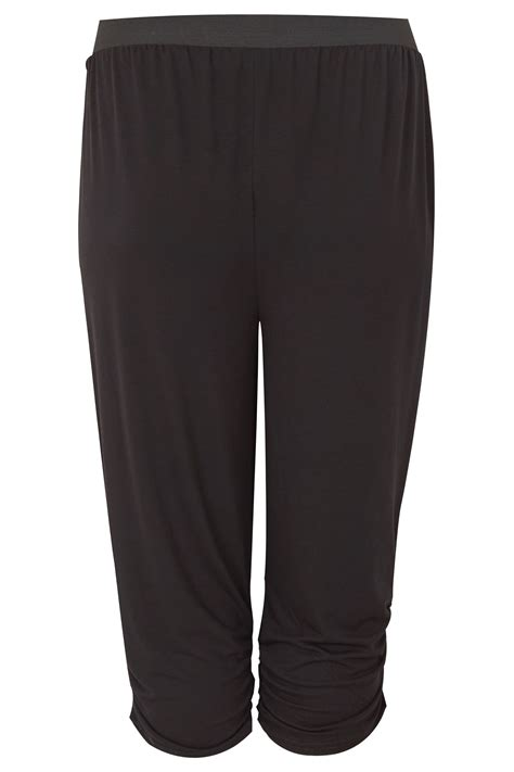 Harem Cropped black cropped harem trousers plus size 16 to 36