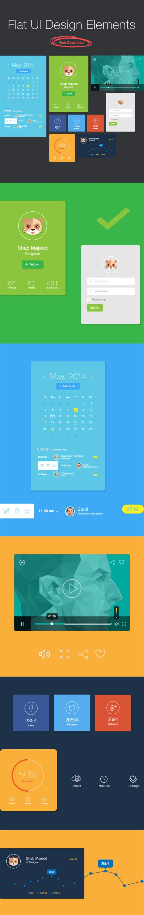 flat design ui elements flat ui design elements free download 2014