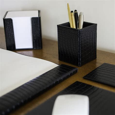 Black Leather Set by Black Leather Executive Desk Set Simply Special Gifts