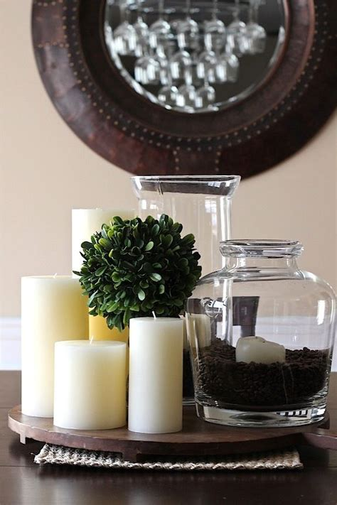 simple centerpiececandles jar filled  coffee beans