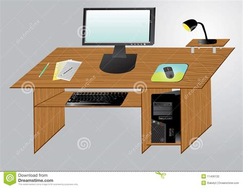 Desktop Computer Table Desktop Computer On A Table Stock Photography Image