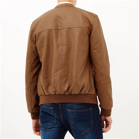 light brown jacket mens lyst river island light brown leather look bomber jacket