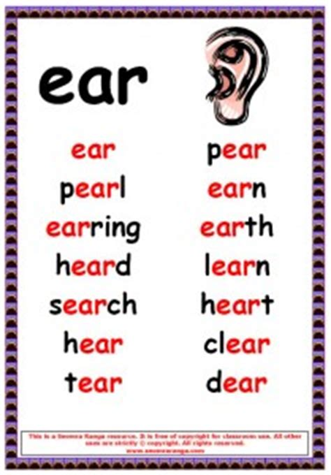 ear pattern words phonics poster ear words seomra ranga
