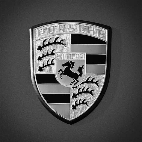 porsche usa emblem porsche hood emblem 0396bw55 photograph by jill reger