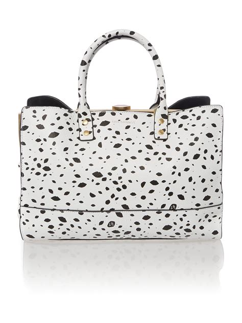 Lulu Guinness Reversible Tote White by Lulu Guinness Multi Coloured Roughly Cutout Spot