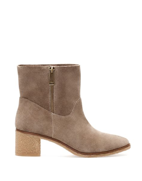 pull high heel suede ankle boots in beige mink lyst