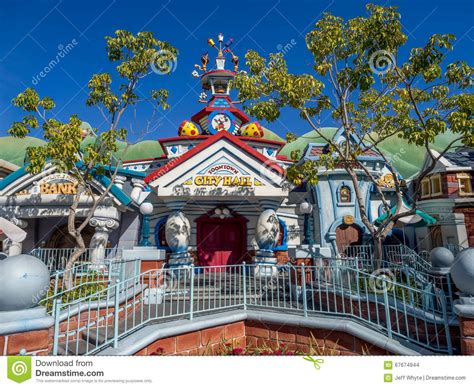sections of disneyland city hall in toontown disneyland editorial stock image