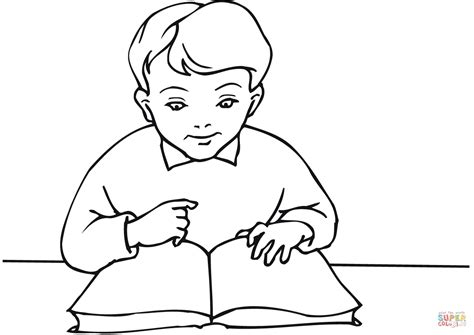school boy reading a book coloring page free printable