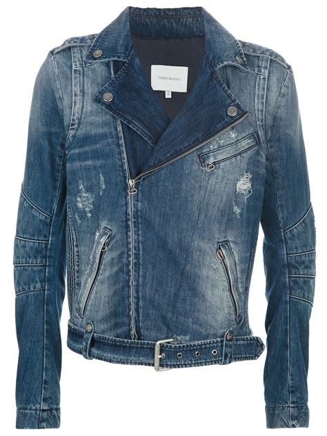 denim motorcycle jacket lyst balmain denim biker jacket in blue for men