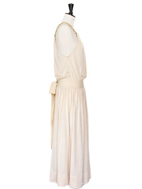 Chain Halter Gown Pink Blue Size Sml louise braided chain halter neck pink beige silk dress retail price 1500 size 36