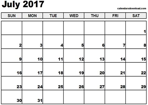 Calendar 2017 July To December July 2017 Calendar Weekly Calendar Template