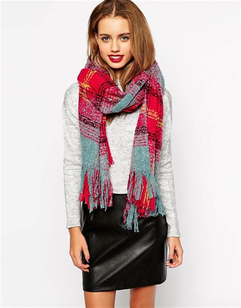 new look new look bright check boucle scarf at asos