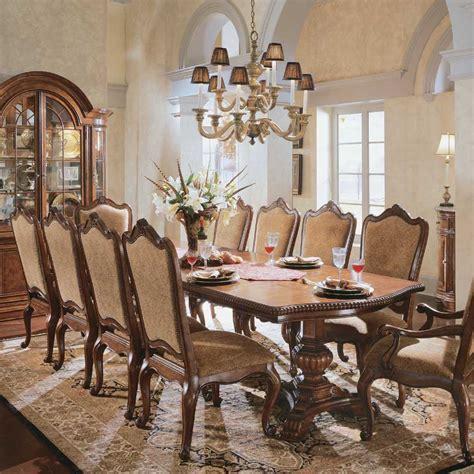Cleopatra Pedestal 7 Rectangle Dining Room Set By Homey Design Hd 8017 Dt Universal Furniture Villa Cortina Pedestal