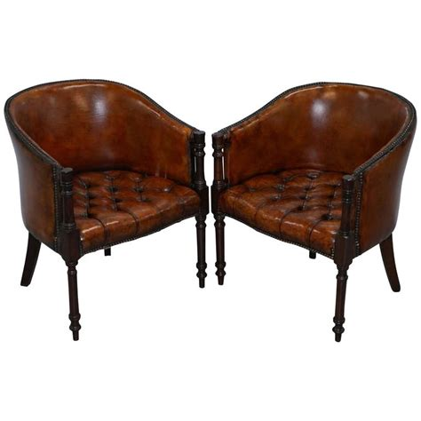 tub armchairs for sale pair of regency style restored hand dyed chesterfield tub armchairs circa 1910 for